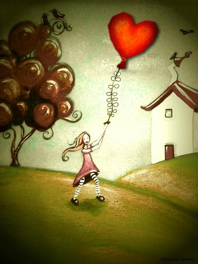 Girl Flying a Heart Balloon-Cherie Roe Dirksen-Giclee Print