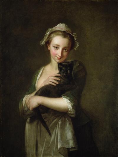 Girl Holding a Cat-Philippe Mercier-Giclee Print