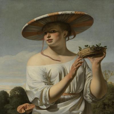 Girl in a Large Hat, c.1645-50-Cesar Boetius van Everdingen-Giclee Print