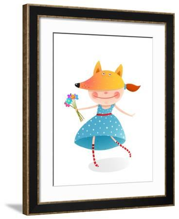 Girl in a Mask Fox with Bouquet of Flowers. Kid in Fox Costume. Childhood and Handsome Character Pe-Popmarleo-Framed Art Print