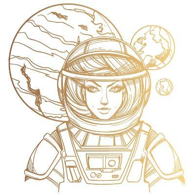 Girl in a Spacesuit for T-Shirt Design or Print. Woman Astronaut. Cosmic Beauty. Martian, Alien Out- filkusto-Art Print