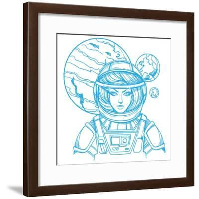 Girl in a Spacesuit for T-Shirt Design or Print. Woman Astronaut. Cosmic Beauty. Martian, Alien Out- filkusto-Framed Premium Giclee Print