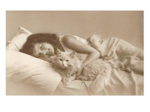 Girl in Bed with Cat