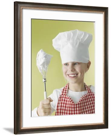 Girl in Chef's Hat and Apron with Beater-Kai Schwabe-Framed Photographic Print