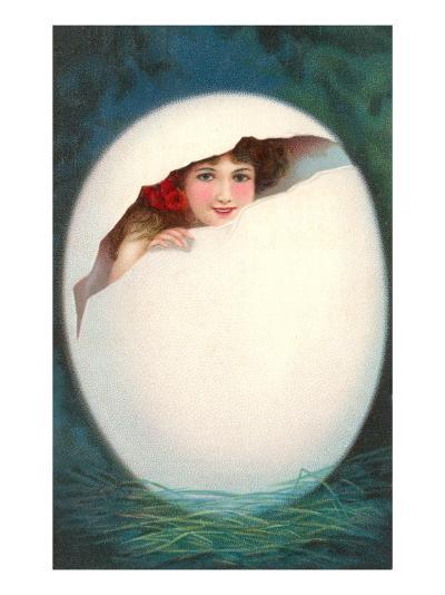 Girl in Cracked Egg--Art Print