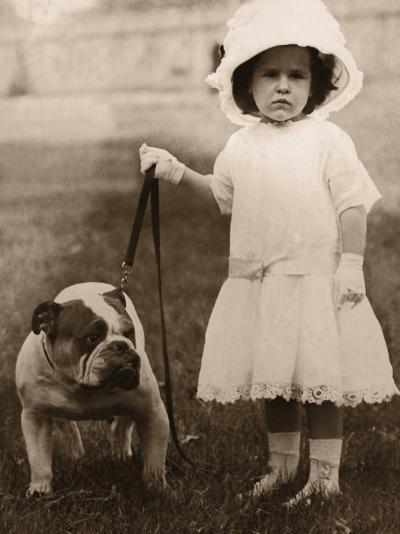 Girl in Dress and Hat, Holding Bulldog on Lead--Photographic Print