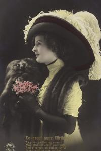 Girl in Large Hat with Ostrich Feathers