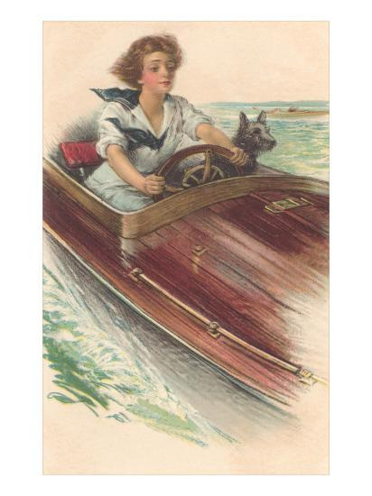 Girl in Motorboat with Terrier--Art Print