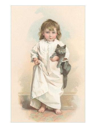 Girl in Nightgown with Frightened Cat--Art Print