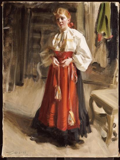 Girl in Orsa Costume, 1911-Anders Leonard Zorn-Giclee Print