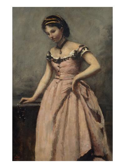Girl in Pink Dress-Jean-Baptiste-Camille Corot-Giclee Print