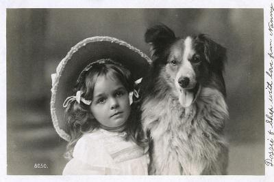 Girl in Straw Hat with Dog--Photographic Print