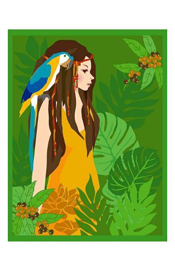 Girl in Tropical Paradise with Blue Bird-Noriko Sakura-Art Print