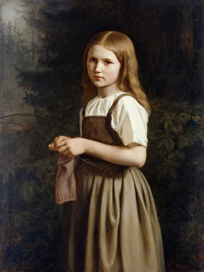 Girl Knitting, 1854-Minna Heeren-Giclee Print