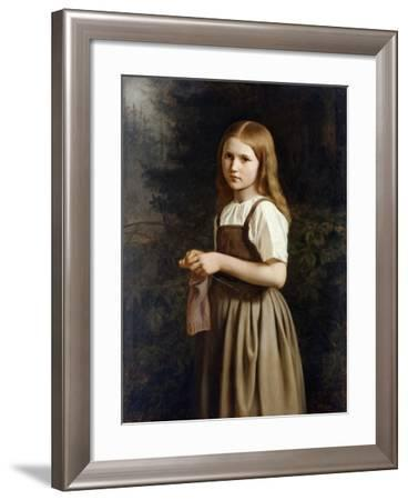Girl Knitting, 1854-Minna Heeren-Framed Giclee Print