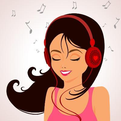 Girl Music-Julka-Art Print