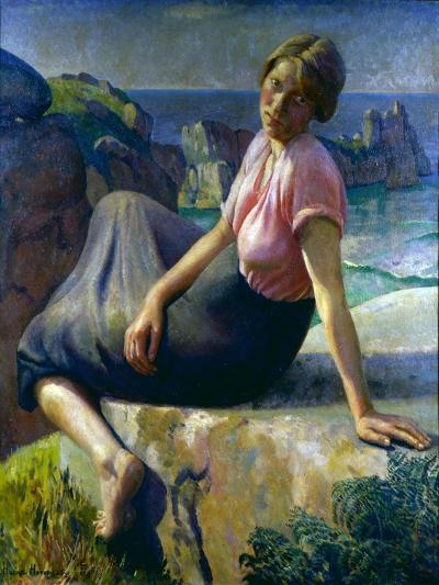 Girl on a Cliff, 1926-Harold Harvey-Giclee Print