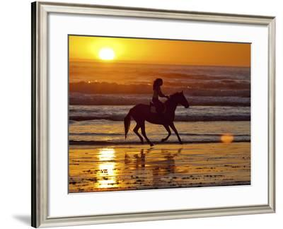 Girl on a Running Horse on the Beach-Nora Hernandez-Framed Photographic Print