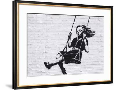 Girl on a Swing-Banksy-Framed Giclee Print