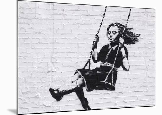 Girl on a Swing-Banksy-Mounted Giclee Print