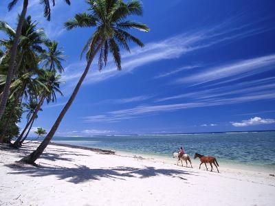 Girl on Beach with Coconut Palm Trees, Tambua Sands Resort, Coral Coast, Fiji-David Wall-Photographic Print