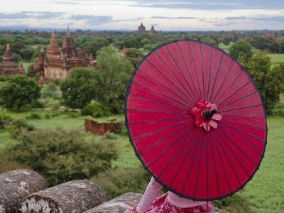 Girl Overlooking Temples of Bagan, Myanmar-Keren Su-Photographic Print