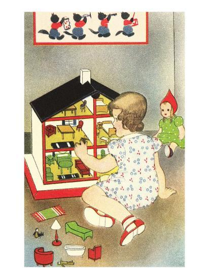 Girl Playing with Doll House--Art Print