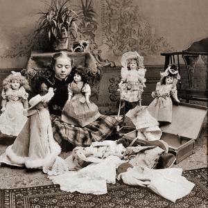 Girl Playing with Dolls, 1890