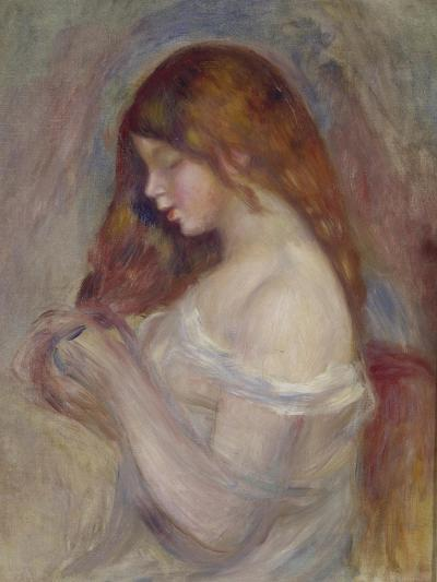 Girl Playing with Her Hair-Pierre-Auguste Renoir-Giclee Print