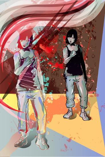 Girl Power, Abstract Grunge Background-Irmak Akcadogan-Art Print