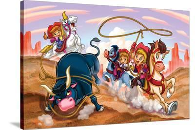 Girl Power - Cowgirls--Stretched Canvas Print