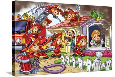 Girl Power - Firefighters--Stretched Canvas Print
