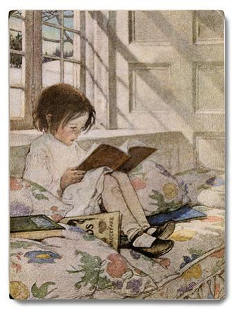 Girl Reading at Window Sill