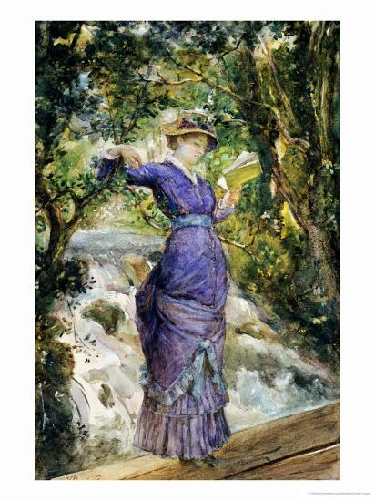 Girl Reading by a Waterfall, circa 1882-Maria Konstantinovna Bashkirtseva-Giclee Print
