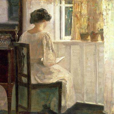 Girl Reading in a Sunlit Room-Carl Holsoe-Giclee Print