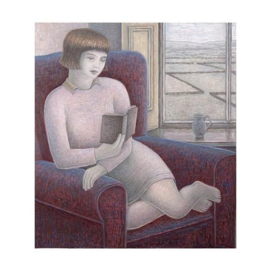 Girl Reading in Armchair-Ruth Addinall-Giclee Print