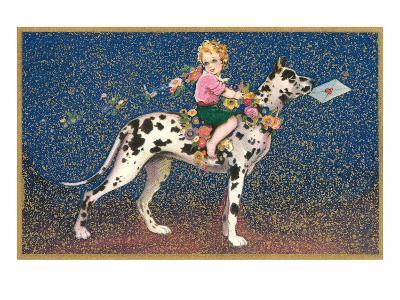 Girl Riding Harlequin Great Dane--Art Print