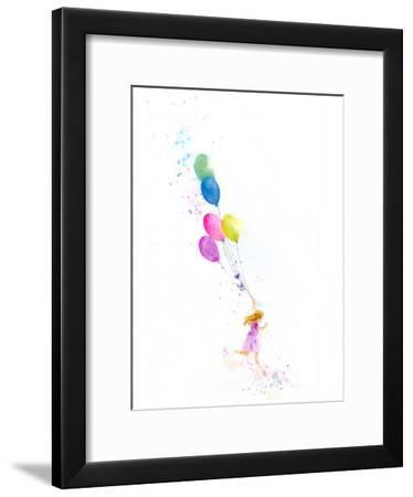 Girl Running With Balloons-Rachel McNaughton-Framed Art Print