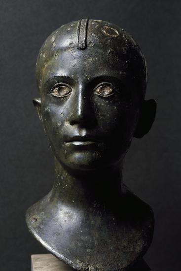 Girl's Head in Bronze--Giclee Print
