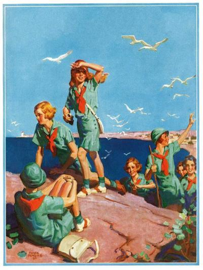 """""""Girl Scouts at Sea Shore,""""July 1, 1932-Frank Bensing-Giclee Print"""
