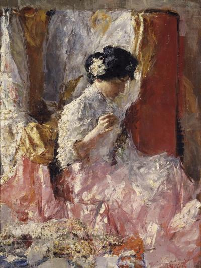 Girl Sewing (Elegantly Dressed Woman Sews in an Interior)-Antonio Mancini-Art Print