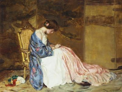 Girl Sewing - the Party Dress-William Wallace Gilchrist-Giclee Print