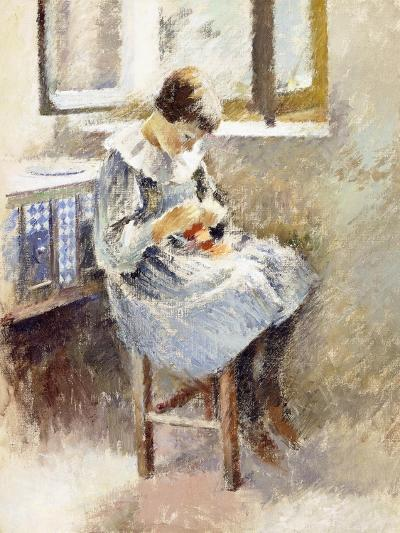 Girl Sewing-Theodore Robinson-Giclee Print
