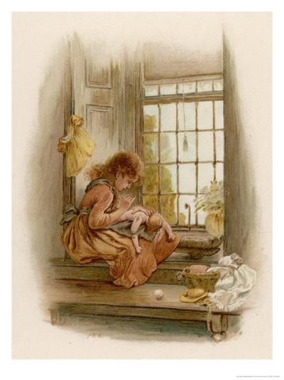 Girl Sits in a Window-Seat Mending Her Doll-M^ Ellen Edwards-Giclee Print