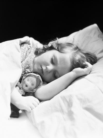 Girl Sleeping, Head on Pillow, Baby Doll Toy Under Arm-H^ Armstrong Roberts-Photographic Print