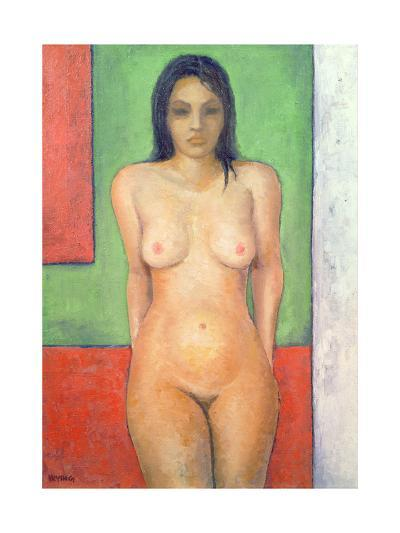 Girl Standing by Abstract, Cobalt Green Vermillion-Brian Irving-Giclee Print