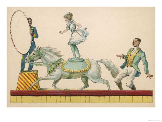 Girl Standing on the Back of a Grey Horse Prepares to Jump Through a Paper Hoop--Giclee Print