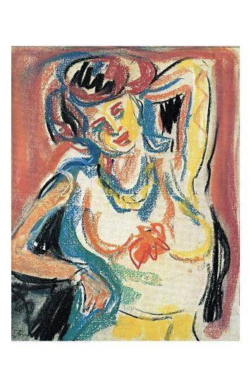 Girl Streching-Ernst Ludwig Kirchner-Art Print