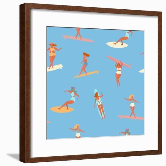 Girl Surfers in Bikinis - Blue Seamless Pattern-Tasiania-Framed Premium Giclee Print