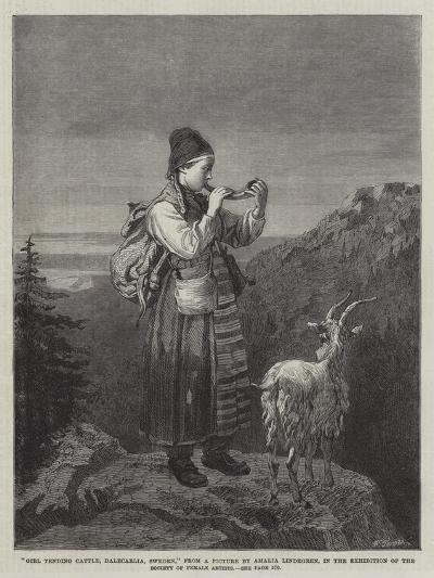 Girl Tending Cattle, Dalecarlia, Sweden, in the Exhibition of the Society of Female Artists-Amalia Lindegren-Giclee Print